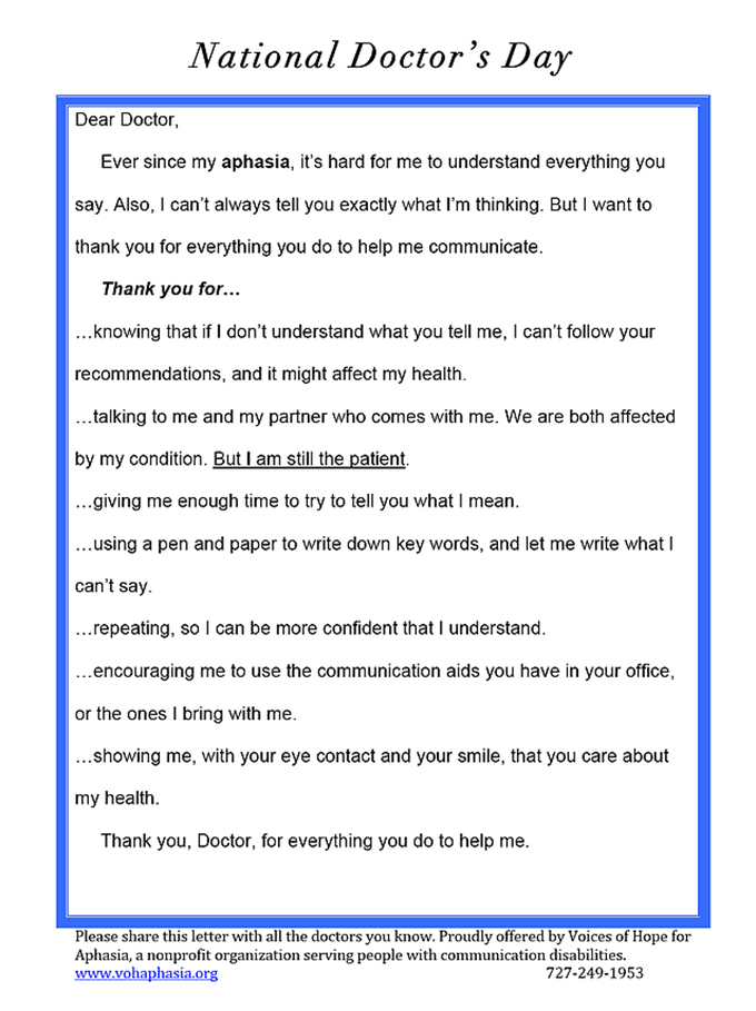 Thank you doctor from your patient with aphasia voices of hope aphasia patient letter expocarfo Choice Image